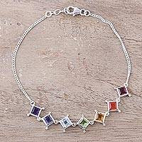 Multi-gemstone link bracelet, 'Wellness' - Multi-Gemstone Chakra Bracelet from India
