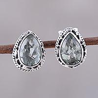 Prasiolite stud earrings, 'Verdant Mist' - 3-Carat Prasiolite Teardrop Stud Earrings from India