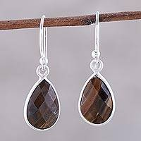 Tiger's eye dangle earrings, 'Earthy Drops' - 6-Carat Tiger's Eye Dangle Earrings from India
