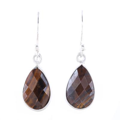 Tiger's eye dangle earrings, 'Earthy Drops' - 6-Carat Tiger's Eye Dangle Earrings from India