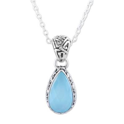Chalcedony pendant necklace, 'Sky Mist' - Teardrop Chalcedony Pendant Necklace in Aqua from India