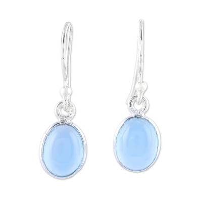 Chalcedony dangle earrings, 'Luminous Sky Blue' - Sky Blue Chalcedony Dangle Earrings from India