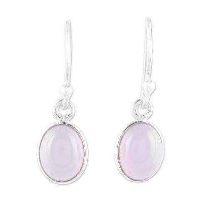 Soft Pink Chalcedony Dangle Earrings from India
