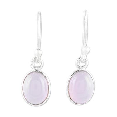 Chalcedony dangle earrings, 'Luminous Soft Pink' - Soft Pink Chalcedony Dangle Earrings from India