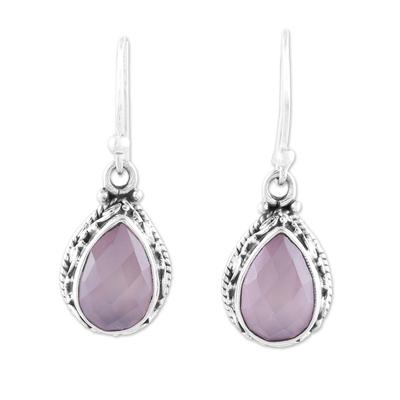 Teardrop Chalcedony Dangle Earrings in Pink from India