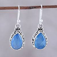 Chalcedony dangle earrings, 'Blue Mist' - Teardrop Chalcedony Dangle Earrings in Blue from India