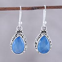 Chalcedony dangle earrings, 'Blue Mist' - Teardrop Chalcedony Dangle Earrings in Blue from India