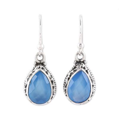 Teardrop Chalcedony Dangle Earrings in Blue from India