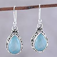 Chalcedony dangle earrings, 'Sky Mist' - Teardrop Chalcedony Dangle Earrings in Aqua from India