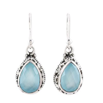 Teardrop Chalcedony Dangle Earrings in Aqua from India