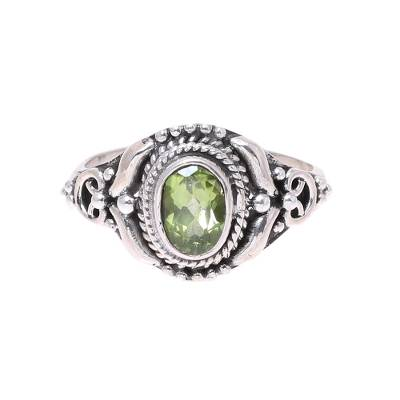 Peridot cocktail ring, 'Traditional Romantic' - Traditional Peridot Cocktail Ring from India