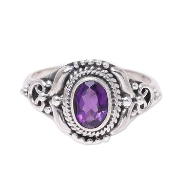 Amethyst cocktail ring, 'Traditional Romantic' - Traditional Amethyst Cocktail Ring from India