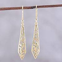 Gold plated sterling silver dangle earrings, 'Sword of Delhi' - Gold Plated Sterling Silver Dangle Earrings from India