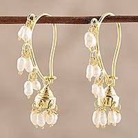 Gold plated cultured pearl chandelier earrings, 'Pearl Melody' - Gold Plated Cultured Pearl Chandelier Earrings from India