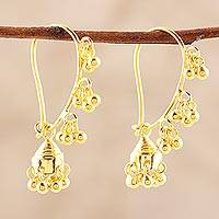Gold plated sterling silver chandelier earrings, 'Music' - 22k Gold Plated Sterling Silver Chandelier Earrings
