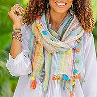 Linen shawl, 'Delightful Stripes in Blue' - Lightweight Pastel Striped Linen Shawl from India