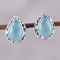 Chalcedony stud earrings, 'Sky Mist' - Sky Blue Chalcedony Teardrop Stud Earrings from India