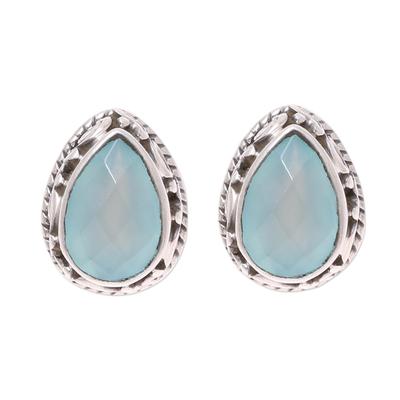 Sky Blue Chalcedony Teardrop Stud Earrings from India