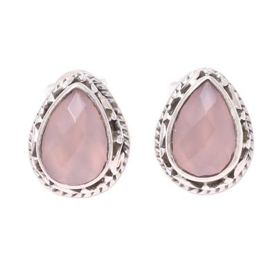 Soft Pink Chalcedony Teardrop Stud Earrings from India