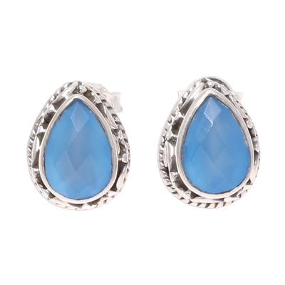 Blue Chalcedony Teardrop Stud Earrings from India