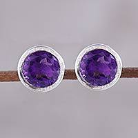 Amethyst stud earrings, 'Spark of Life' - Faceted Amethyst Stud Earrings from India