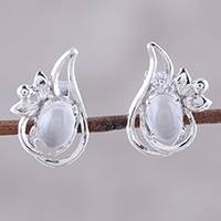 Rhodium plated moonstone button earrings, 'Classic Paisley' - Rhodium Plated Moonstone Paisley Button Earrings from India