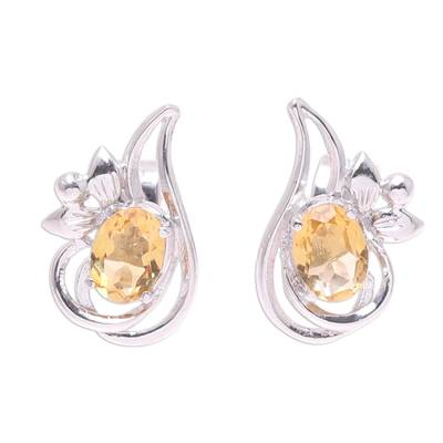 Rhodium Plated Citrine Paisley Button Earrings from India