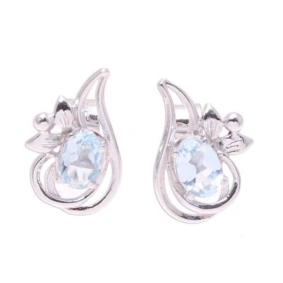 Rhodium Plated Blue Topaz Paisley Button Earrings from India