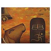 'Shiva Lingam' - Signed Hinduism-Themed Expressionist Painting from India