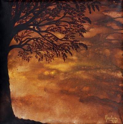 'Bhor - Morning' - Signed Painting of a Tree at Sunrise from India