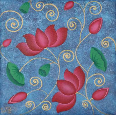 'Floral Blossom' - Signed Lotus Flower Painting from India