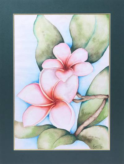 'Frangipani Delight' - Signed Realist Frangipani Flower Painting from India