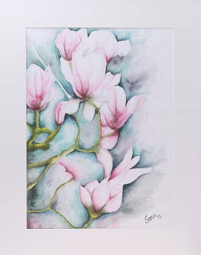 'Cherry Blossom' - Signed Realist Painting of Cherry Blossoms from India