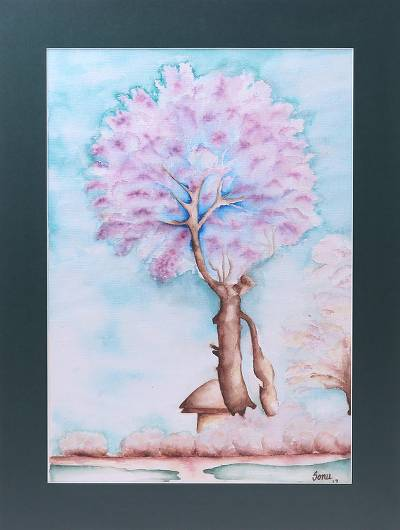 'Solitude' - Signed Impressionist Landscape Painting from India