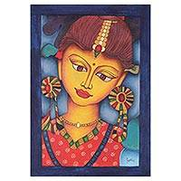 'Alluring Radha' - Signed Expressionist Painting of Radha from India