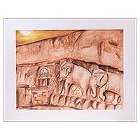 'Marching Elephants' - Signed Expressionist Painting of Elephants from India