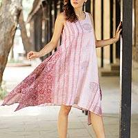 Block-printed cotton sundress, 'Spiced Wine' - Block-Printed Cotton Sundress in Wine and Eggshell