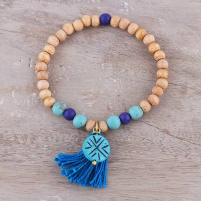 Wood and bone beaded stretch bracelet, 'Cheerful Blue' - Wood and Bone Beaded Stretch Bracelet in Blue from India