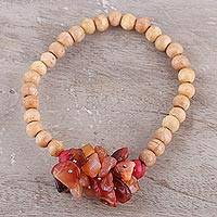 Beaded wood and agate stretch bracelet, 'Natural Mystery in Peach' - Peach-Colored Agate and Wood Stretch Bracelet