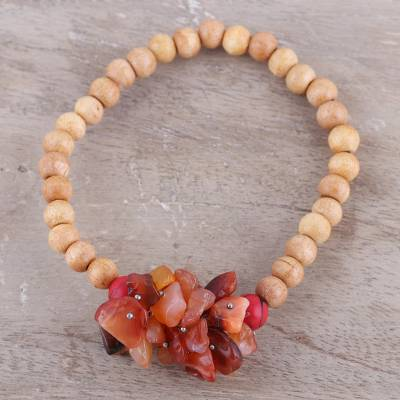 Agate and wood beaded stretch bracelet, 'Natural Mystery in Peach' - Peach-Colored Agate and Wood Stretch Bracelet