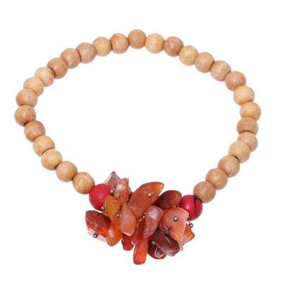 Peach-Colored Agate and Wood Stretch Bracelet