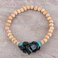 Agate and wood beaded stretch bracelet, 'Natural Mystery in Hunter' - Dark Green Agate and Wood Beaded Bracelet from India