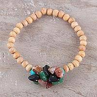 Beaded wood and agate stretch bracelet, 'Natural Mystery in Multi' - Multicolored Agate and Wood Beaded Bracelet