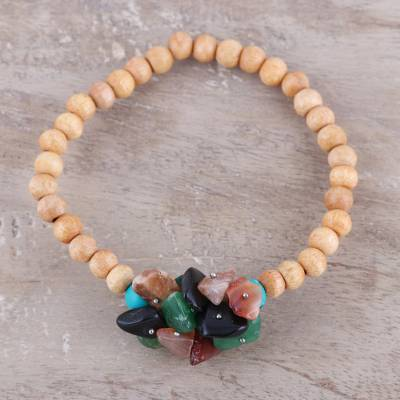 Agate and wood beaded stretch bracelet, 'Natural Mystery in Multi' - Multicolored Agate and Wood Beaded Bracelet
