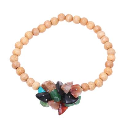 Multicolored Agate and Wood Beaded Bracelet