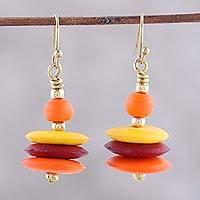 Bone beaded dangle earrings, 'Blazing Discs' - Fiery Bone Beaded Dangle Earrings from India