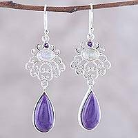 Multi-gemstone dangle earrings, 'Harmonious Purple Trio' - Amethyst Labradorite and Charoite Sterling Dangle Earrings