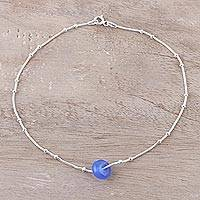 Chalcedony pendant anklet, 'Sleek Wheel' - Blue Chalcedony Pendant Anklet from India
