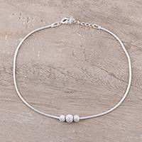 Sterling silver anklet, 'Eternal Glory' - Sterling Silver Anklet Crafted in India