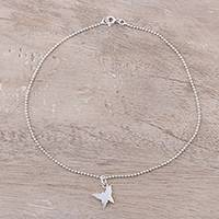 Sterling silver anklet, 'Delightful Butterfly' - Sterling Silver Butterfly Anklet from India